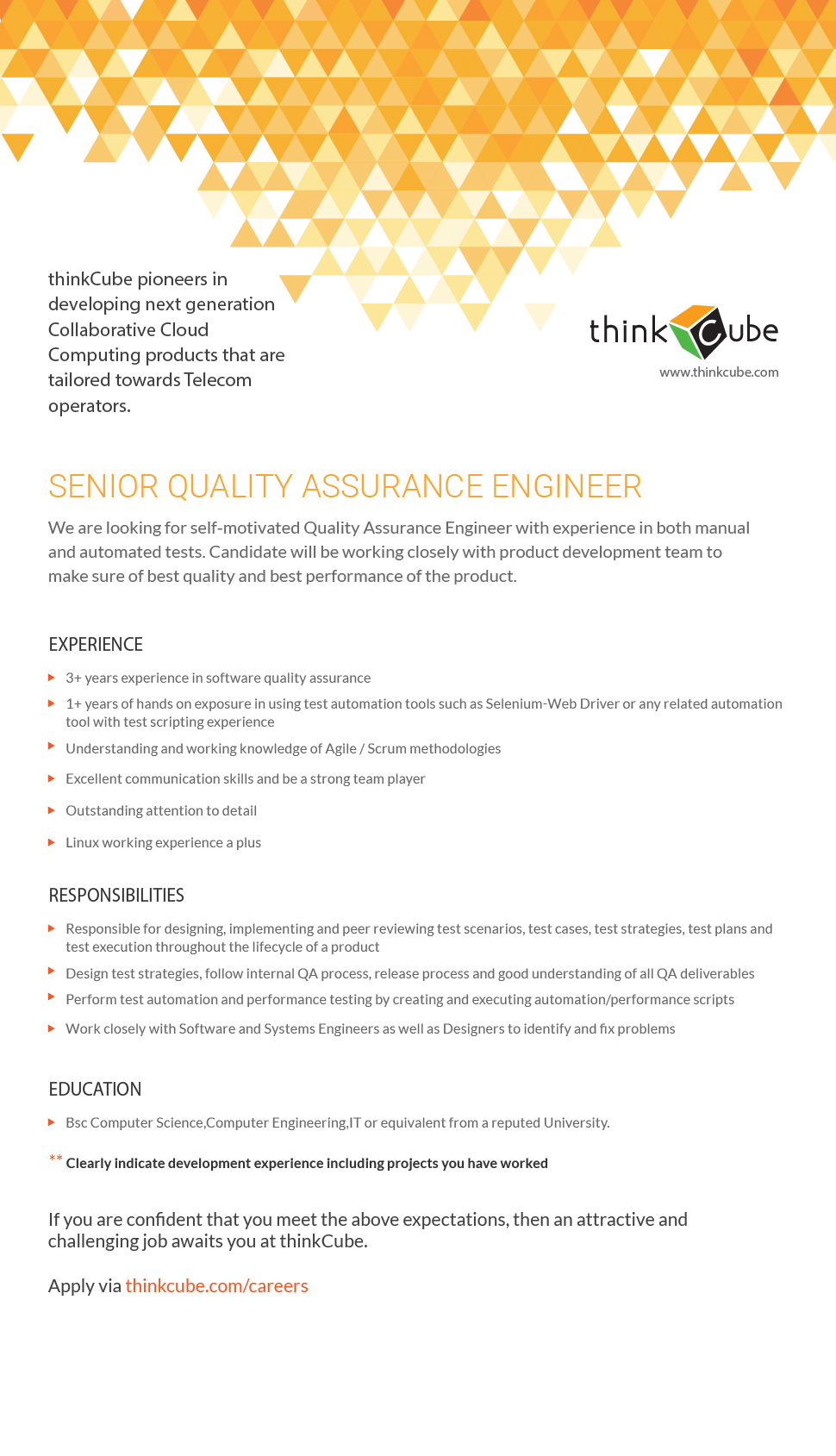 SENIOR QUALITY ASSURANCE ENGINEER