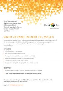 SENIOR SOFTWARE ENGINEER - C#,.NET