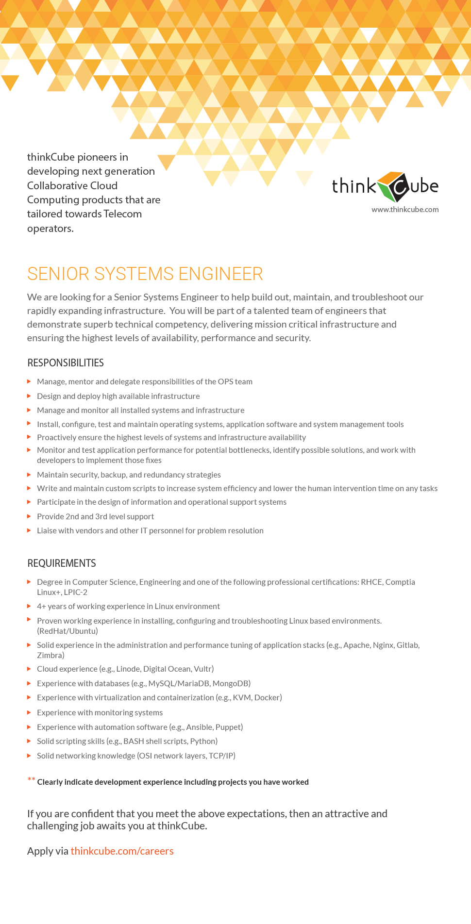 SENIOR SYSTEMS ENGINEER