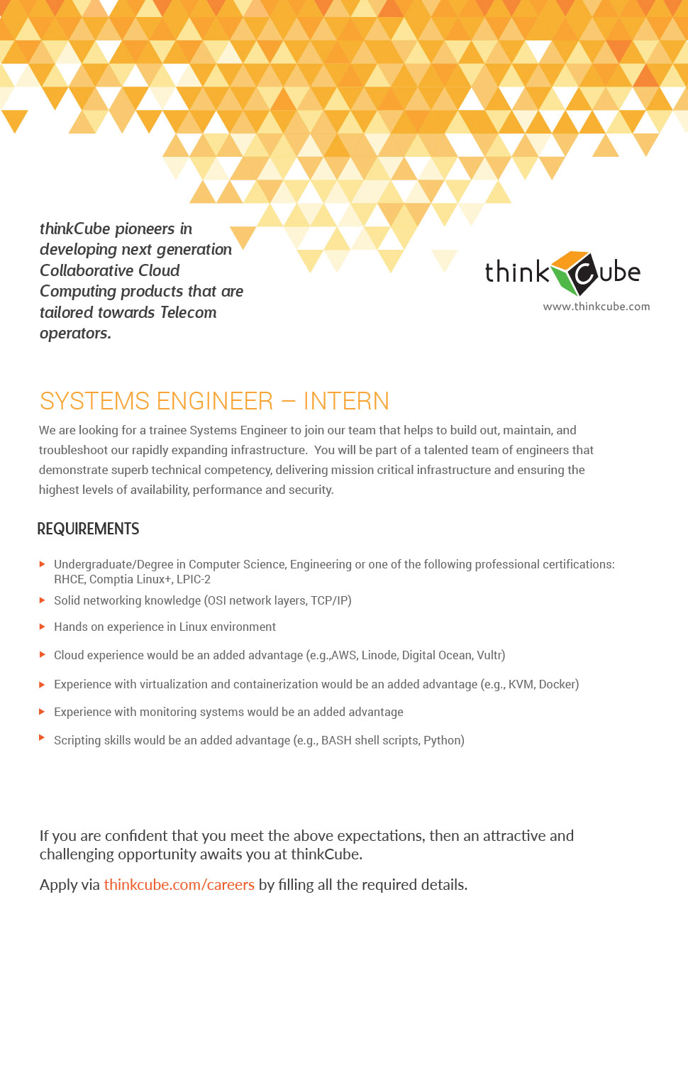 INTERN - SYSTEMS ENGINEER